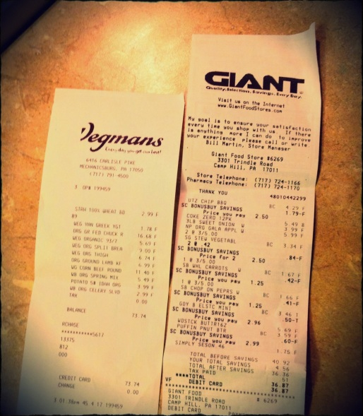 Kudos to Wegman's for their compact receipt. I spent 70% of my budget there and got 30% less paper.